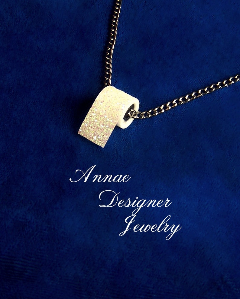 gunmetal Toilet paper charm necklace iridescent white