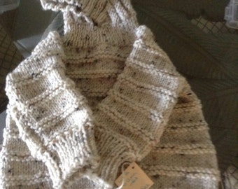 Hand knit hooded baby sweater zips up the back-so cute & practical Size newborn-6 months  the color is Aran Fleck