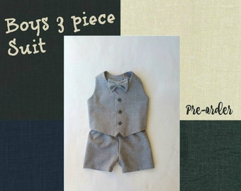 Baby Boy Suit, Baby Boy Clothes, Special Occasion, Toddler Suit, Ring Bearer Outfit, Mini Groom, Flower Boy, Wedding Suit, Navy, Grey, Black