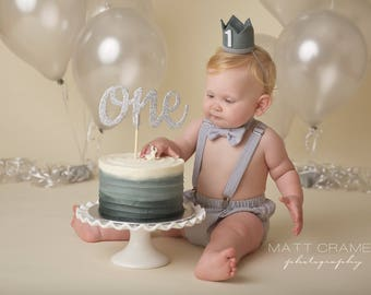 Gray Cake Smash First Birthday Outfit With Diaper Cover Suspenders Braces And Bow Tie