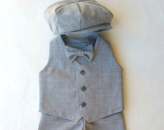 Baby Boy Suit, Toddler Suit, Ring Bearer Outfit, Special Occasion Outfit, Infant Suit, Ring Boy Suit, Grey Baby Suit, Gray Boys Suit