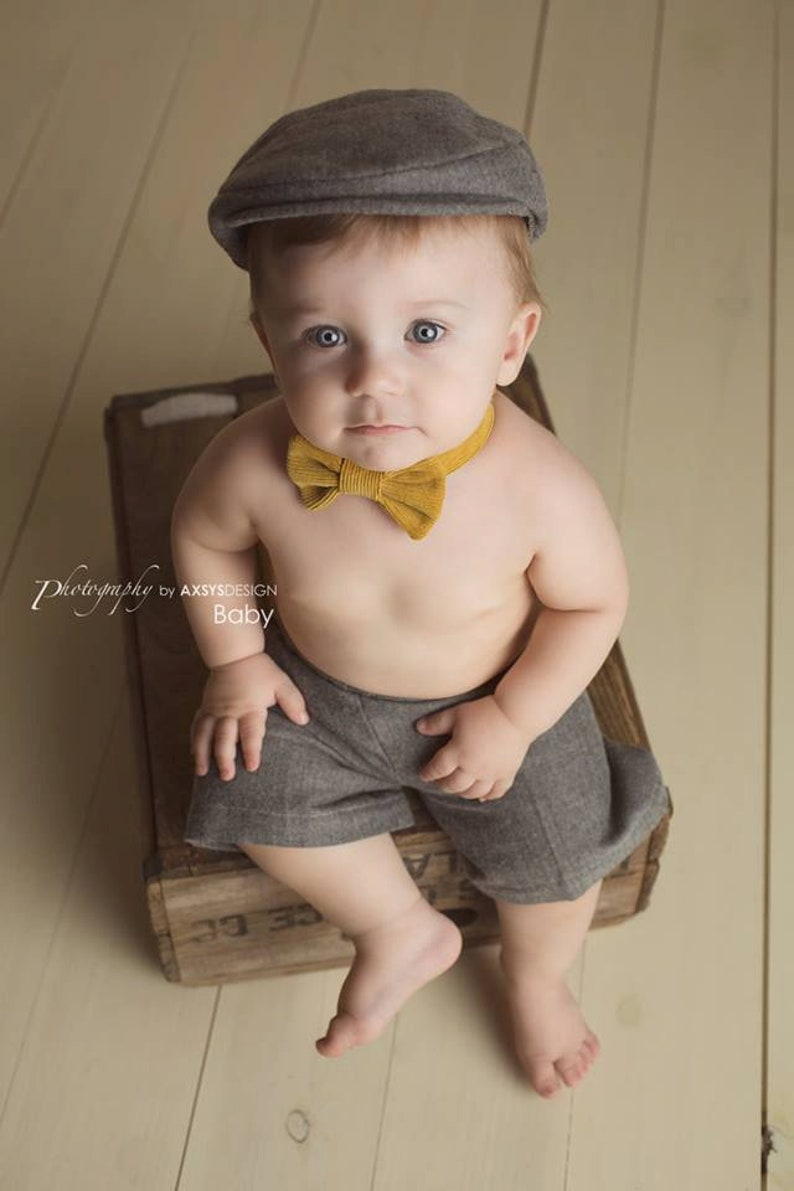 Baby Newsboy Hat Gray Baby Hat Ring Bearer Baby Boy Prop  b9bf6afe5a1f