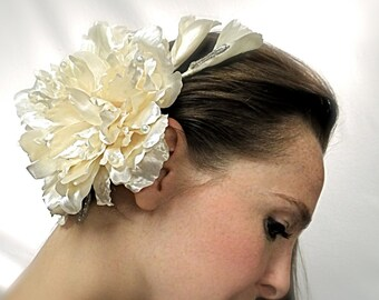Champagne Bridal Headpiece Satin Floral Hairpiece Wedding Accessories B-127