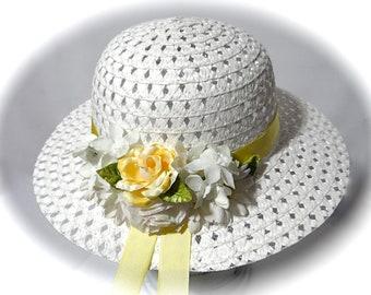Girls Sunbonnet Easter Bonnet Flower Girl Hats Tea Party Hat GH-131