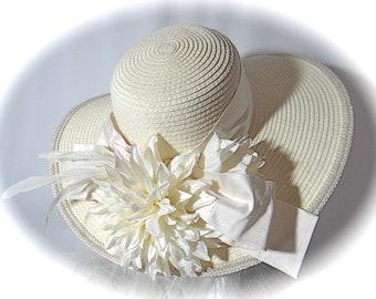 7ca520fbaaa40 Cream Bridal Hat Church Hats Wedding Accessories Mother of the Bride BH-107