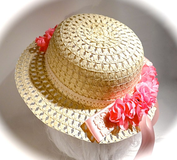 Girls Easter Bonnet Sun Hat Tea Party Hats Flower Girl Hat  e19e1ee1c54e