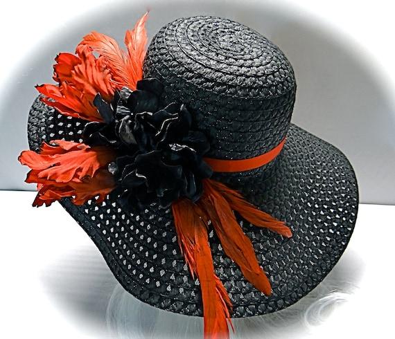 25b6e192c9e Red Tulip Black Kentucky Derby Hat Women s Hats Sun Hats