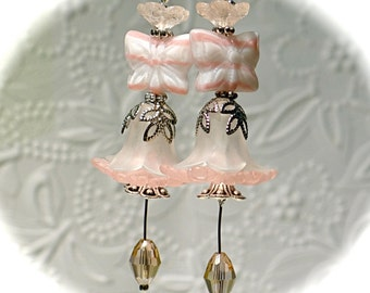 Butterfly Fairy Earrings Pink Floral Dangle Earrings N-115