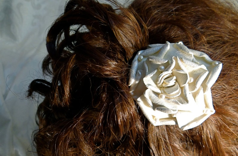 Leather Rose Bridal Hairpiece Cream Rose with Pearls Wedding Accessories B-119