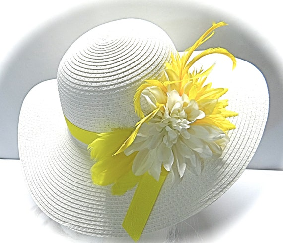 aab44a63119 Yellow Sun Hat Mother of the Bride Kentucky Derby Hats DH-130