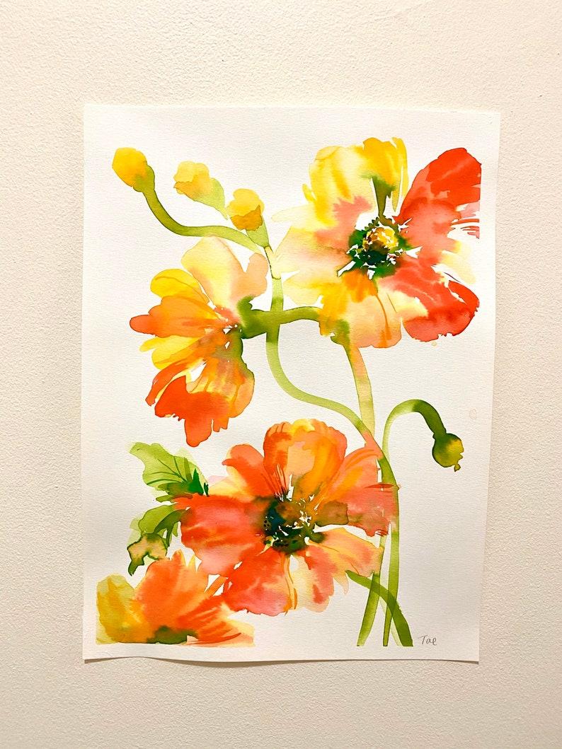 watercolor Sale Original poppies painting