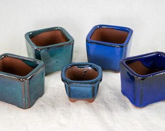 "Rectangle Bonsai Pot Shohin Mame Dwarf Planter Unglazed Ceramic 5/""x4.5/""x2.25/"""