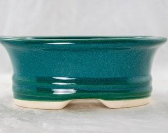 """Free Shipping Oval Teal Green Glazed Shohin Bonsai, Succulent Pot 5.75""""x 4.5""""x 2.25"""" w / Mesh"""