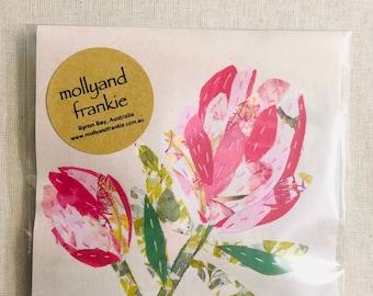 Slow Stitching Kit, Embroidery, Fabric Craft Kit - Pink Proteas