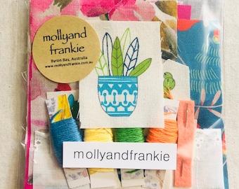 Meditation Sewing Kit, Slow Stitching, Craft Kit - Succulents