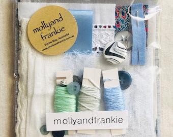 Slow Stitching Kit, Craft Kit - Sky, Slate, Lapis and more