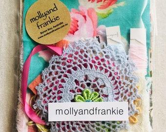 Slow Stitching Kit, Craft Kit - Pastel Blooms