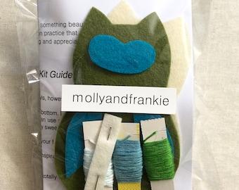 Owl Craft Kit, Sewing Kit, Fibre Art Kit - Owl