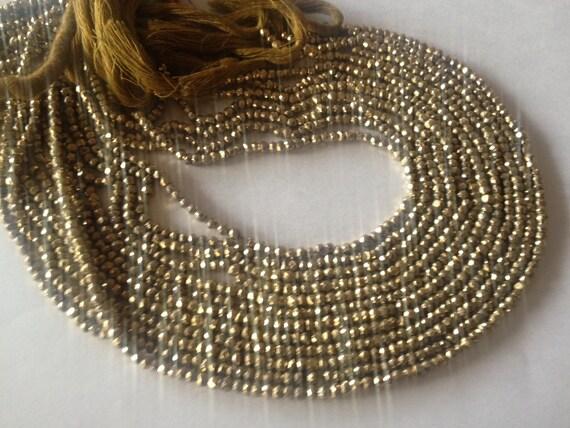 Rondelles à facettes facettes facettes perles de pyrite taille 3 à 3,5 mm de longueur 13,5 pouces AAA qualité 30 brins à prix d'usine 9fc844