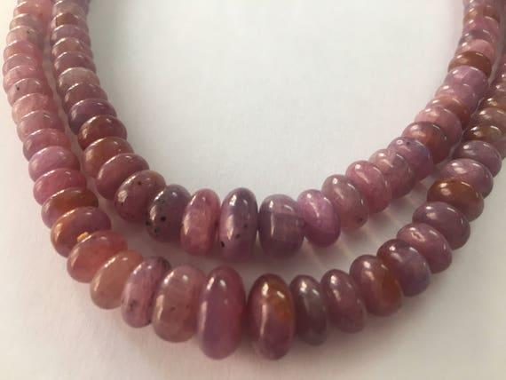 Très poli Rare magnifique saphir rose lisse poli Très perles collier poids 545 carats taille 5mm à 11,5 mm perles de la talentueuse naturel saphir rose 2c0887
