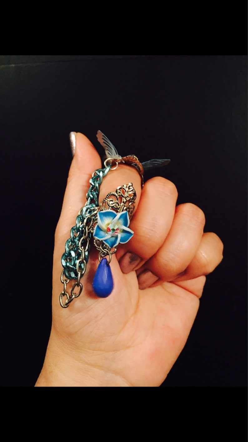 Blue butterfly armor ring and claw,chain nail guard,chained claw ring,butterfly claw ring,butterfly ring,butterfly,blue chains,flower charm.