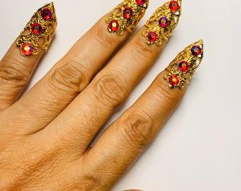 Custom listing, Crystal mini claw rings,nail guards,nail rings,nail covers,metal nails,gold and silver nail covers,adjustable.