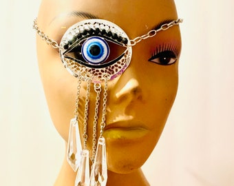 Crystal eyepatch,silver crystal eyepatch,eyepatch,filigree eyepatch,metal eyepatch,teardrop eyepatch,eyepatch,Fancy eyepatch,Evil eye.