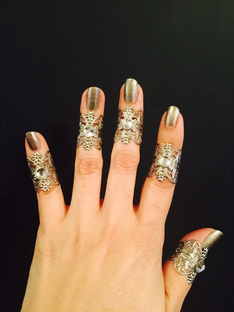 Knuckle rings set of 5 pcs silver color decorated with clear crystals