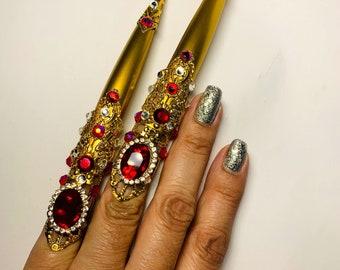 Crystal nail guards,claw rings,long nailguards,metal nail guards,finger covers,crystal claw ring,nail cover,metal nails,adjustable,2pcs.