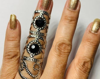 Custom made Filigree swirl cage rings,armor rings,shield ring,silver filigree,jet black crystals