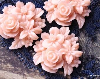 .gm 21 mm Umber Red Color Rose Resin Flower Cabochons
