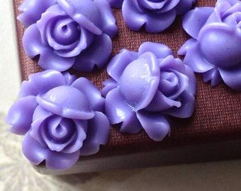 15 mm Lavender Colour Shrub Rose Resin Flower Cabochons (.sg)