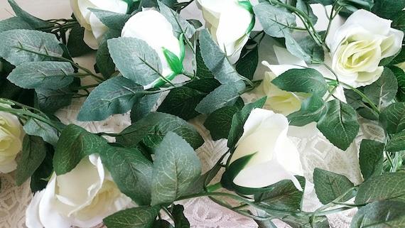 88 inches white rose garland flower vine artificial etsy mightylinksfo