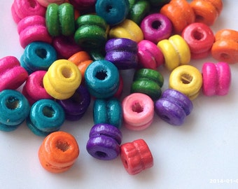 5 x 6 mm Two Tiers Round Assorted Colour Wooden Beads (.ms)