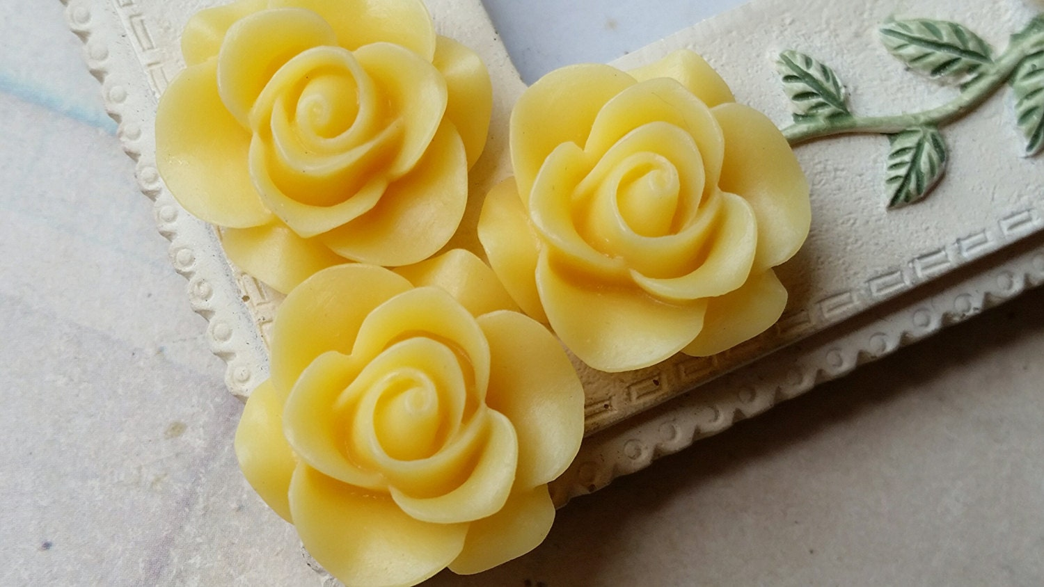 21 Mm Yellow Colour Rose Resin Flower Cabochons Etsy