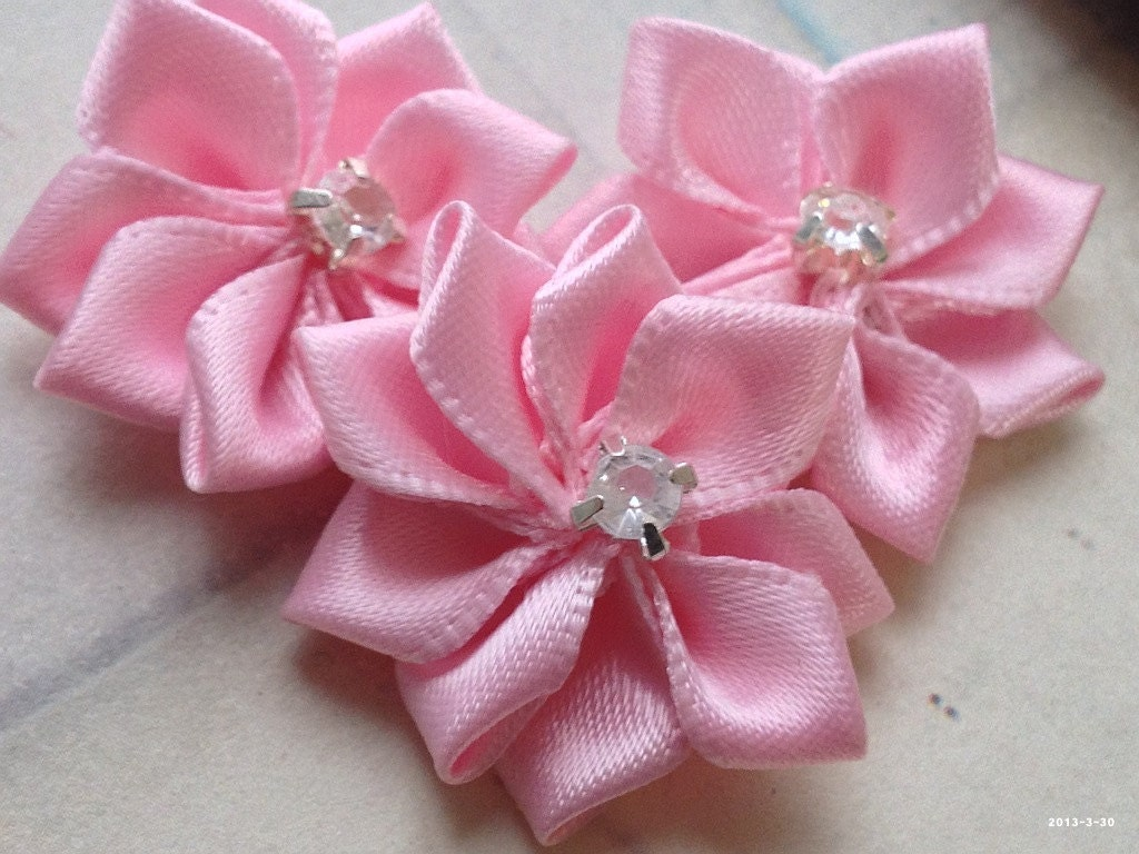 25 Cm Pink Colour Satin Ribbon Flower With Rhinestone Bead Etsy