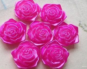 17 mm Shiny Hot Pink Acrylic Rose Cabochons(.tm)