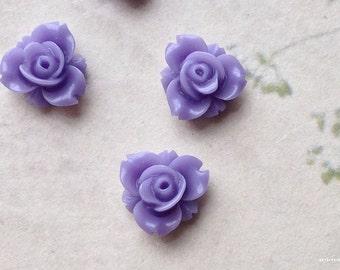 12 mm Lavender Colour Resin Rose Flower Cabochons (.sm)
