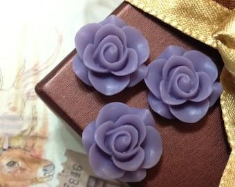 21 mm Lavender Colour Rose Resin Flower Cabochons (.gm)