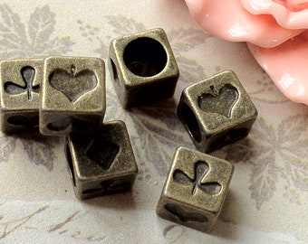 7 mm Antique Bronze Cube Shape Metal Beads/ Spacer Beads.(.tg)