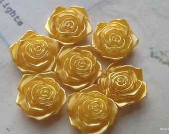 17 mm Shiny Golden Yellow Acrylic Rose Cabochons(.tm)