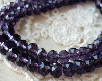 4 x 6 mm 48 Faceted Cut Rondelle Dark Purple Colour Glass / Crystal / Lampwork Beads / Electroplate bead (.maa