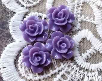 14 mm Little Lavender Colour Rose Resin Cabochons (.tg) (ZZP)