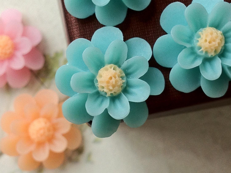 18 Mm Lake Blue Colour Resin Marigold Flower Nm Etsy