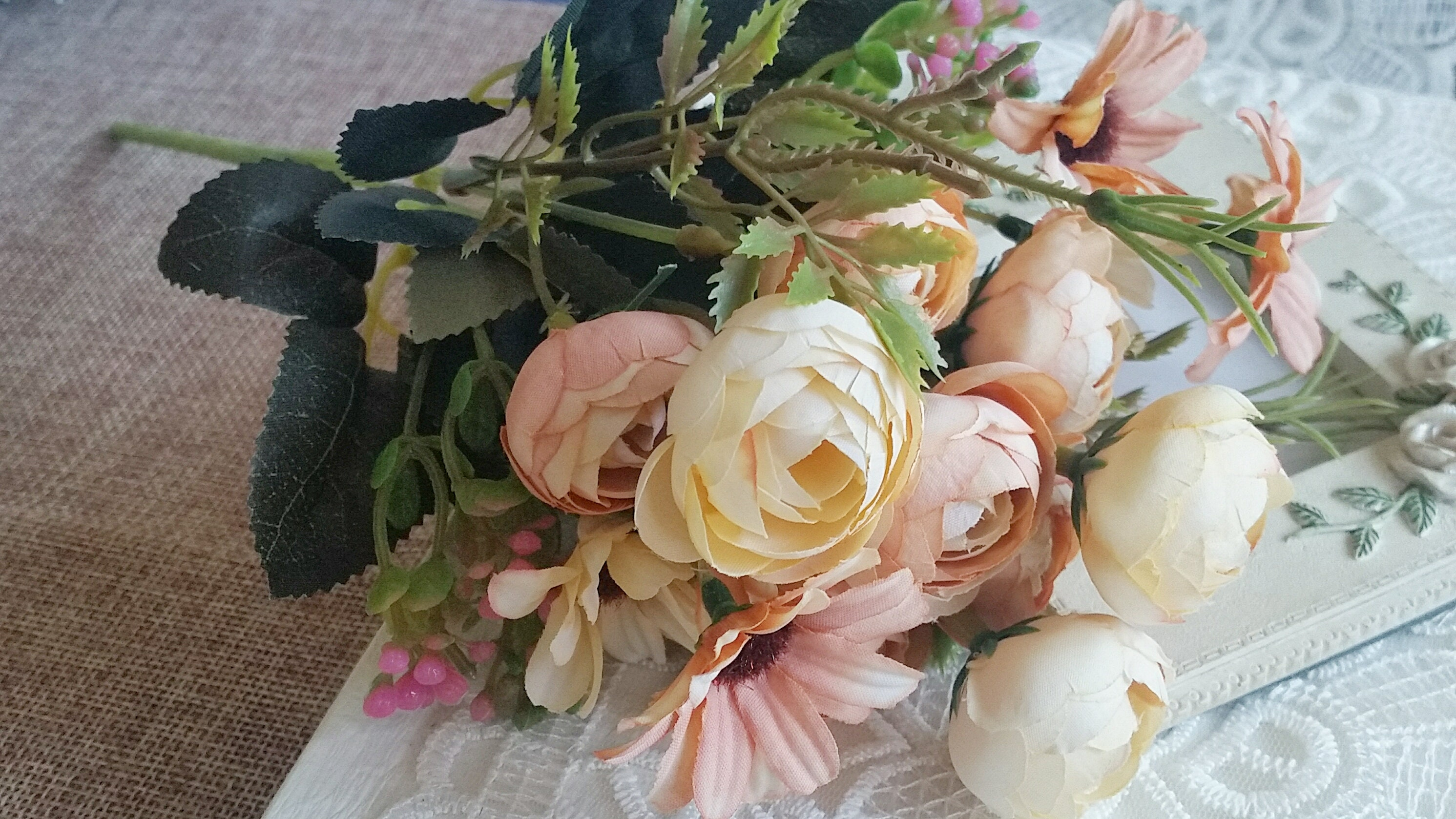 Silk Plastic Rose With Wild Chrysanthemum Artificial Flowers Etsy