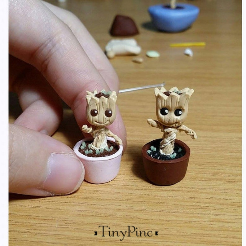 Miniature Baby Groot Figurine Comes with a Free small Acrylic image 0