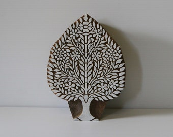 Tree Stamp Hand Carved Indian Wood Block - Design 2