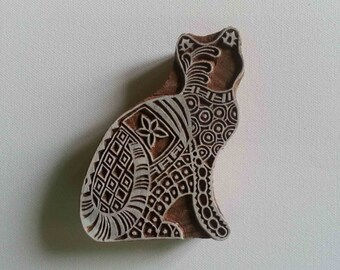 Cat Stamp Indian Wood Block - Hand Carved Stamp