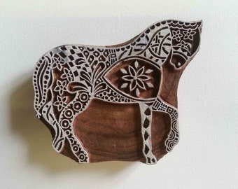 Indian Wood Stamp - Horse - Wood Block Printing - Hand Carved