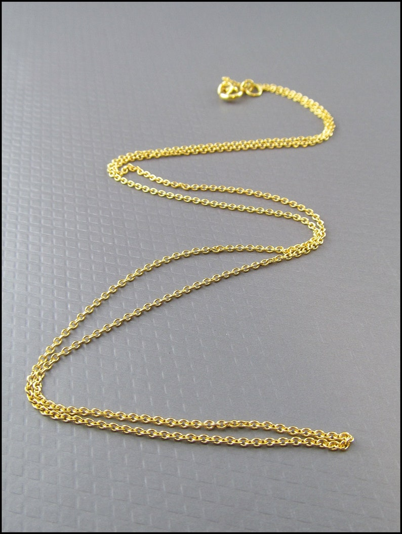925 silver anchor chain  cable chain gold plated 45cm 18 HK925-18